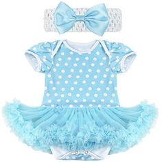 iEFiEL Baby Girls Birthday Dressing Outfit Ruffle Tutu Romper Headbow Set Blue White Dots 03 Months