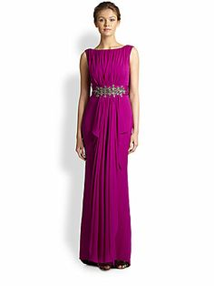 Notte by Marchesa Shirred Chiffon-Bodice Gown