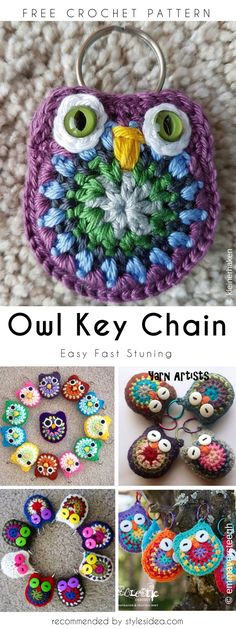 Owl Key Chain Free Crochet Pattern by pearlie Crochet Owls, Crochet Patterns Amigurumi, Knit Or Crochet, Crochet Gifts, Cute Crochet, Crochet Motif, Crochet Animals, Knitting Patterns, Rainbow Crochet