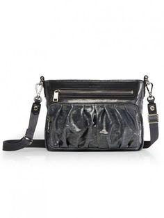 37944c01e MZ Wallace Abbey Crossbody Bag in Graphite Glazed Linen Wallace Silver,  Italian Leather, Graphite