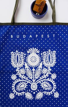 Budapest city souvenir with redesigned hungarian folk motifs