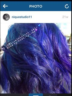 Blue hair, purple hair. Weird, vivid, joico, olaplex, shiny hair, waves, wavy, fun, funky hair, teal, indigo, mermaid hair. Nique V. @NiqueStudio11