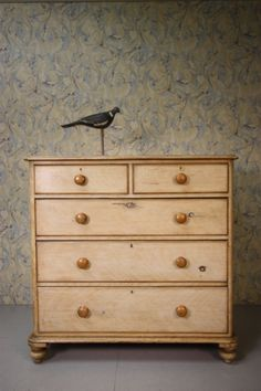 Original Painted Pine Antique Chest of Drawers.