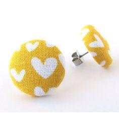 Etsy- mustard yellow heart earrings
