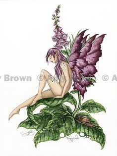 """""""Foxglove 2008"""" ORIGINAL ART - Watercolor Paintings A - H - Amy Brown Fairy Art - The Official Gallery"""