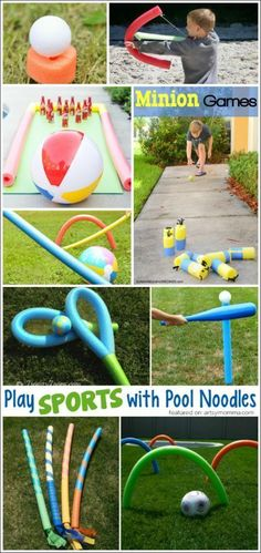 Play Sports with Pool Noodles! - Play Sports with Pool Noodles! Fun Ways to Play with Pool Noodles Pool Noodle Games, Pool Noodle Crafts, Pool Noodles, Noodles Games, Fun Noodles, Outdoor Games, Backyard Games, Outdoor Fun, Diy Games