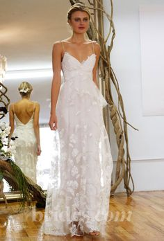 elizabeth fillmore lace sheath wedding dress with straps fall 2013
