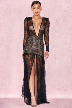 HOUSE OF CB  Griffe  Black Lace Super Plunge Maxi Dress S 8   10 5b331a041