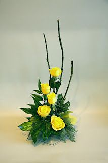 ikebana style tropical flower arrangement