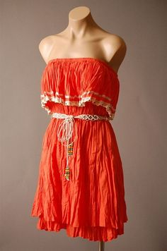 Red Orange Summer Dress by FreePeopleClothing on Etsy, $71.00