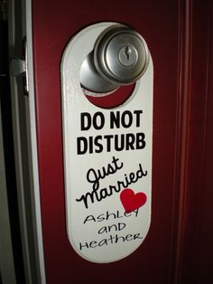 Custom Personalized Just Married Honeymoon DO NOT DISTURB Wooden Door Hanger Mr Mrs Bride Groom Wedding Gift by PrettiesByJenny on Etsy https://www.etsy.com/listing/189056368/custom-personalized-just-married