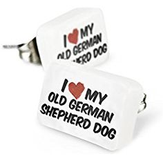 Small studs I Love my Old German Shepherd Dog from Germany Porcelain earrings Jewelry Neonblond