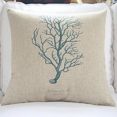 4 Sea Life Coastal Theme Decorative Pillow Covers with Starfish, Seahorse, Coral, and more beach themes.