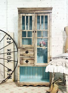 Painted Cottage Chic Shabby Handmade Farmhouse Cabinet
