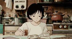 anime, book, and kawaii image Art Studio Ghibli, Studio Ghibli Movies, Old Anime, Anime Art, Anime Studio, Anim Gif, Animated Gif, Casa Anime, Japon Illustration