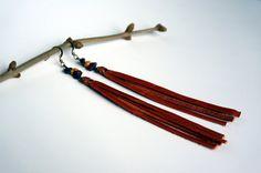 Orange Long Leather Tassel Earrings  Rustic by BrindillesJewellery