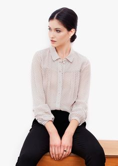 Lauren ivory shirt. Classic shirt tailoring is balanced by feminine details. Gentle folds at front and back, delicate pleats on the sleeves, playful transparency and fun polka-dots. The loose silhouette brings fluidity and softness, while ensuring a comfortable fit. Fall Capsule, Polka Dots, Bring It On, Delicate, Feminine, Ivory, Silhouette, Classic, Lace