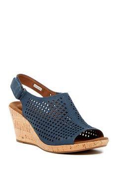 Briah Perforated Slingback Wedge Sandal
