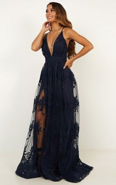 Complete your look with the Promenade Maxi Dress In Navy from Showpo! Senior Prom Dresses, Pretty Prom Dresses, Prom Outfits, Hoco Dresses, Gala Dresses, Dance Dresses, Cute Dresses, Beautiful Dresses, Evening Dresses