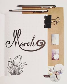 Bullet journal monthly cover page, March cover page, hand lettering, tulip drawings. | @asbulletjournal