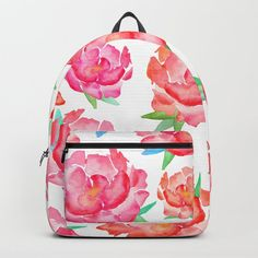 Blushed Out Peony Backpack by amayab Watercolor Peony, Peony Flower, Mini Backpack, Spring Flowers, Pouches, Wood Art, Peonies, Totes, Blush