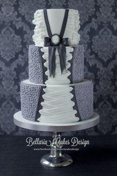 cornelli lace and ruffles wedding cake ~ Beauty!