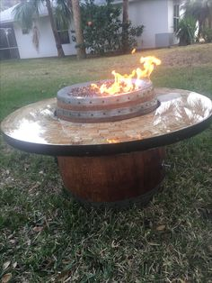 Wine Barrel coffee table fire pit with wine cork and epoxy table Wine Craft, Wine Cork Crafts, Outdoor Spaces, Outdoor Living, Outdoor Decor, Wine Barrel Coffee Table, Fire Pit Table, Table Seating, Fire Pits