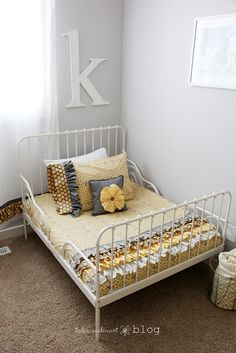 Love love love this bed + bedding. Frame from Ikea: http://www.ikea.com/us/en/catalog/products/S19827958/