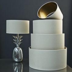 Linene & gold drumshades - graham & Green for the lounge