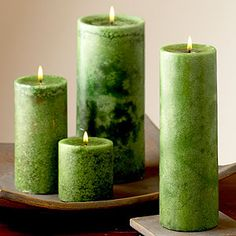 China Pear Candles from World Market Love the French Cassis Purple and Brazilian Orchid Blue colors as well! Lantern Candle Holders, Candle Lanterns, Pillar Candles, Green Candles, Candle In The Wind, Pistachio Green, Affordable Home Decor, World Market, Spring Green