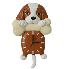 Giftgarden Puppy Dog Holding Bone Wall Clock with Tail Pendulum for Pet Owner * You can find out more details at the link of the image.