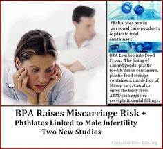 BPA Linked to Increased Miscarriage Risk + Phthalates Linked to Male Infertility:  New Studies + Solutions