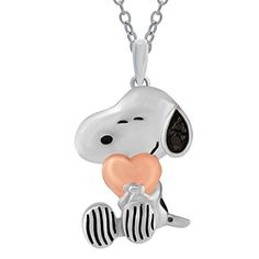 Peanuts Black Diamond Accent Snoopy with Pink Heart Pendant in Sterling Silver ** Learn more by visiting the image link.Note:It is affiliate link to Amazon.