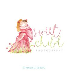Pre Made Mom & child Business Logo  Watercolor by MariaBPaints