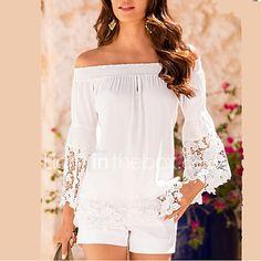 Women White Shirt Slash Neck Off Shoulder Lace Crochet Loose Shirt Blouse Pullover Casual Tops blusa renda White Off Shoulder, Off Shoulder Blouse, Boat Neck Tops, Shirt Blouses, T Shirt, Basic Tops, Blouses For Women, Ideias Fashion, Going Out