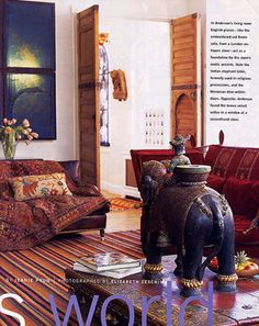 Living Room of Gillian Anderson's bohemian Notting Hill flat. InStyle UK April 2012