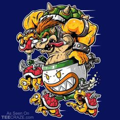 """Boss Fink"" by Jak Gibberish and Poopsmoothie Bowser in the style of Ed ""Big Daddy"" Roth's Rat Fink Rat Fink, King Koopa, Best Gaming Setup, Bright Art, Retro Arcade, Graffiti Lettering, Video Game Art, Super Mario Bros, Funny Games"
