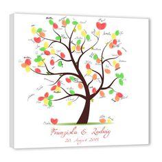 Fingerabdruck Baum - Hochzeitsbaum Untertitel rot