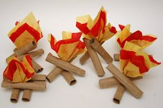 Great idea for Camp-Read-A-Lot or Summer Camp Read: Toilet paper and paper towel tube mini- campfires.  Made with tubes, hot glue, and tissue paper.