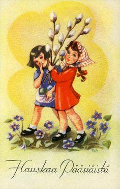 Hauskaa pääsiäistä #pääsiäinen #easter #kortit #cards #pajunkissat Vintage Postcards, Snow White, Disney Characters, Fictional Characters, Easter, Disney Princess, Painting, Art, Kunst