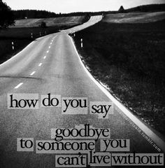 How to say goodbye to someone you can't live without? Realize that the only one we can't live without is God... and then hang on for dear  life until the pain of the goodbye has finally begun to fade.