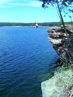 Jumping into Greers Ferry Lake, Arkansas