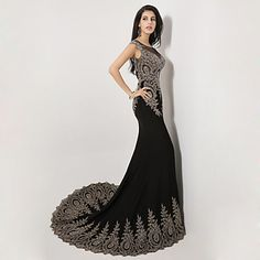 Mermaid Scoop Sweep/Brush Train Spandex Formal Evening Dress – CAD $ 389.19
