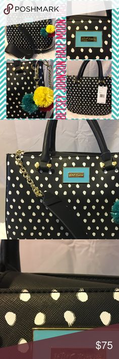"""Betsey Johnson black & white polka dot bag Cute studio to street yoga shirt in size Medium by Gaiam. Lightweight material for comfortable fit. Made of 65% polyester and 35% rayon. Says """"Yoga hair don't care"""" on front. Comes from a smoke-free home. Please see my other items. I have a couple of other listings for black yoga pants. Bundle & save! Betsey Johnson Bags Totes"""