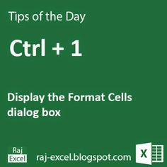 Tips of the Day: Microsoft Excel Short Cut Key: Using Ctrl + 1 | Raj Excel