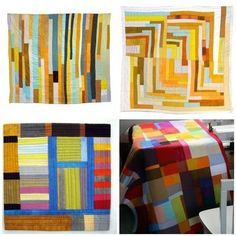 love the top two quilts- the thin strips and imperfectness of it.Colors are great too!