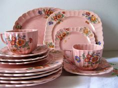 Vintage pink dinnerware Sebring by LookBackVintage on Etsy