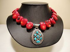 Coral and Turquoise Navajo Pendent Necklace