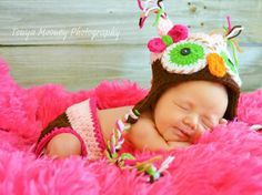 Newborn Owl Hat Baby Girl With Bow and Tassels by LIAMCreations, $29.00
