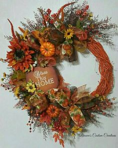 Bless This Home Wreath, Fall  Wreath with Metal Sign, Floral Fall Wreath, Orange…